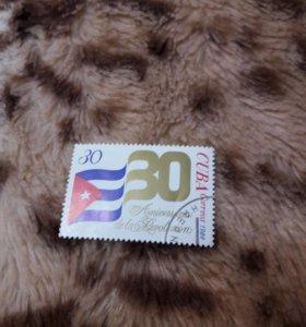 Марка куба 30 лет революции 1989 год гашеная