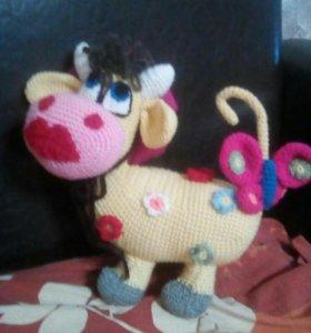 Вязаная Цветочная корова