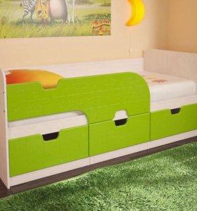 Кровать Детская Минима Лайм новая