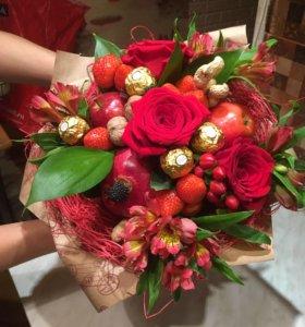 Букетики для любимых из фруктов,конфет,овощей