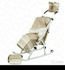 Санки-коляска Трансформер Элит с мех бежевый