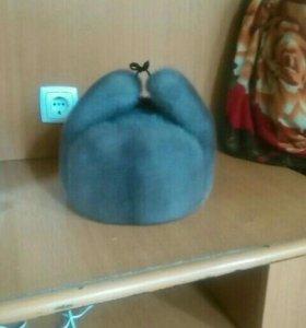 Шапка ушанка серо-голубая