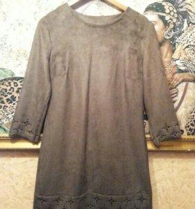 Платье шоколодного цвета замша