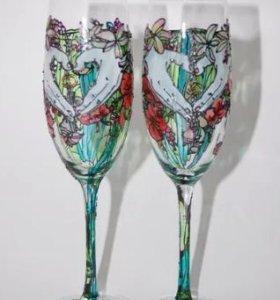 Свадебные бокалы ручной работы по вашему дизайну