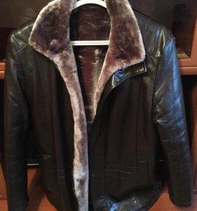 Кожанная куртка-пальто с мехом