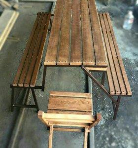 Комплект: скамейка - трансформер + 2 стула