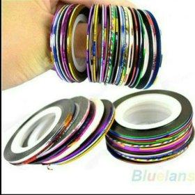 Ленты для дизайна ногтей. 10шт