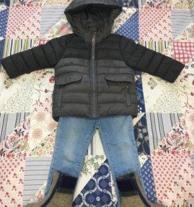 Курточка, валенки и джинсы зара 80-86р