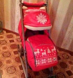 Детские санки с колёсиками