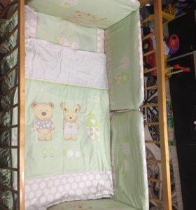 Кроватка детская+бортики+матрас+ белье