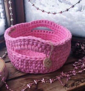 Интерьерные корзины из трикотажной пряжи handmade