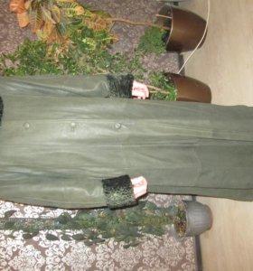 кожаное утепленное пальто 56р
