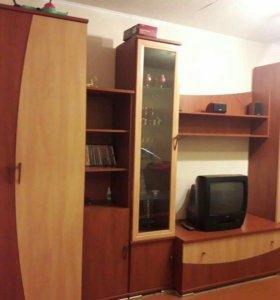 Стенка модульная или раздельно шкафами.