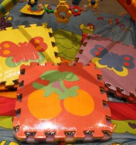 Детские коврики-пазлы Ягодки ,бабочки,цветочки)