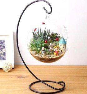 Стеклянная ваза подсвечник на подставке