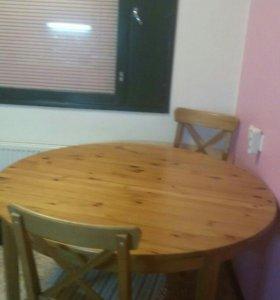 Стол и 2 стула нтуральное дерево
