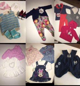 Вещи для девочки 2-6 месяцев пакетом