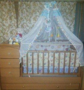 Детская кроватка трансформер,маятник