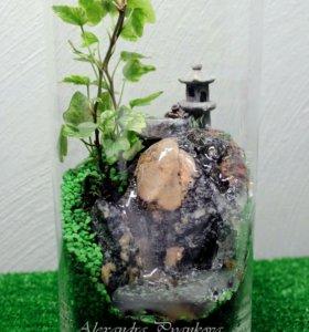 Флорариум в прямой цилиндрической вазе