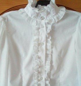 Блузка школьная с прозрачным рукавом