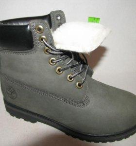 Ботинки Зимние Timberland Мех Нубук Серые 45
