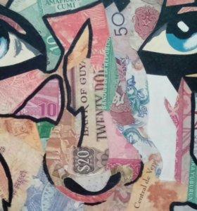 Картины из денег