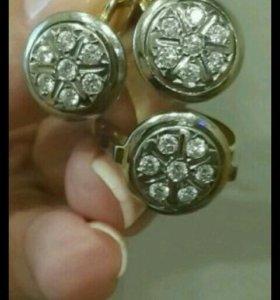 Старинный комплект СССР с бриллиантами 750 проба