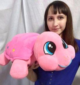 Игрушка плюшевая. Черепаха розовая, 40 см