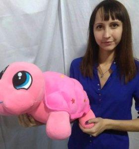 Игрушка плюшевая. Черепаха розовая, 50 см