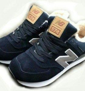 Кроссовки New balance 574 темно-синие (МЕХ)
