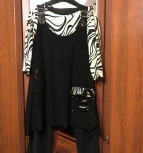 Костюм- туника, блузка, брюки-54 размер
