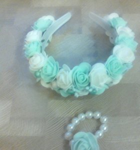 Ободок из роз+ браслет в подарок