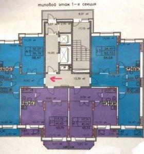 Квартира, 2 комнаты, 58.4 м²