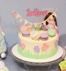Деревянный топпер на торт 1 годик для девочки