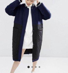 Шерстяное пальто со стеганой вставкой Asos