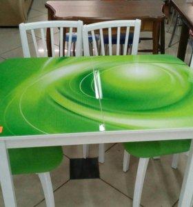 Стол зелёный стекло фотопечать
