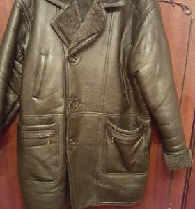 Куртка из натуральной кожи на цигейке с капюшёном