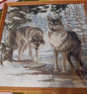 Картина вышитая крестом (волки)