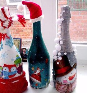 Декор бутылочек к новому году