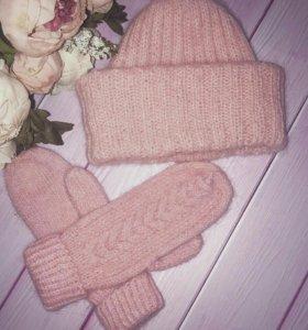 Комплект шапочка такори+ варежки