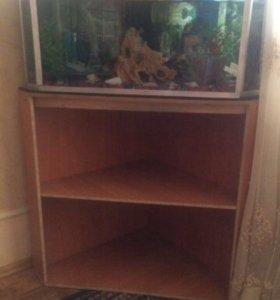 Угловой аквариум с подставкой