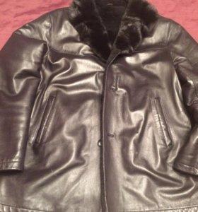 Куртка кожаная зимняя, 56 размер