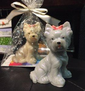 Новогоднее мыло йоркширские терьеры 3Д подарки!