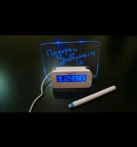 Часы, будильник LED , с доской. Отличный Подарок