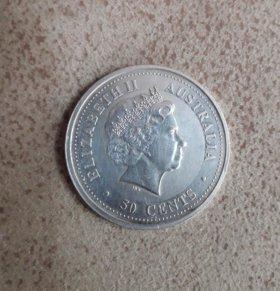 Продам серебряную монету 50 cents Australia