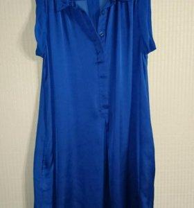 Новое шелковое платье рубашка