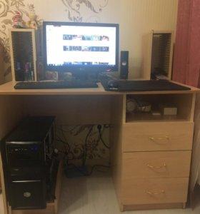 Игровой компьютер 8 ядер 8гб,монитор,колонки,стол