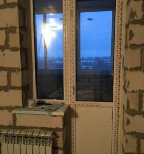 Пластиковая дверь и окно 124*240