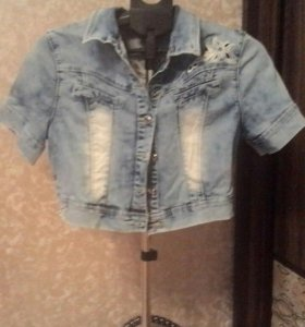 Пиджак джинсовый, укороченый