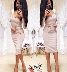 """Платье """"Vikifo"""" бежевое"""